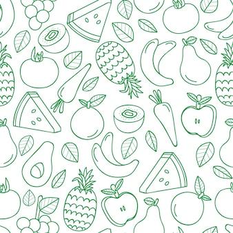 Бесшовный фон с различными тропическими фруктами на белом.