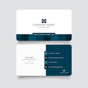 Современная синяя визитная карточка с абстрактными формами