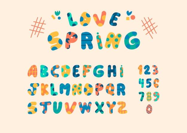 Забавный мультяшный алфавит. цветной английский алфавит, винтажный шрифт, нарисованная от руки забавная типографика, цифры
