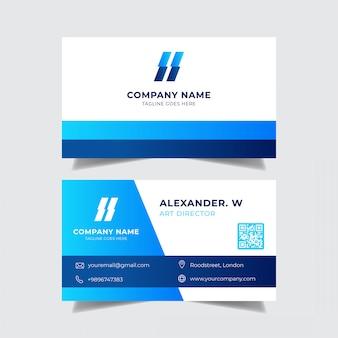 Визитная карточка с голубым стилем градиента