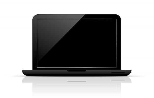 黒い画面で分離されたラップトップをベクトルします。