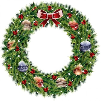Вектор рождественский венок изолированы.