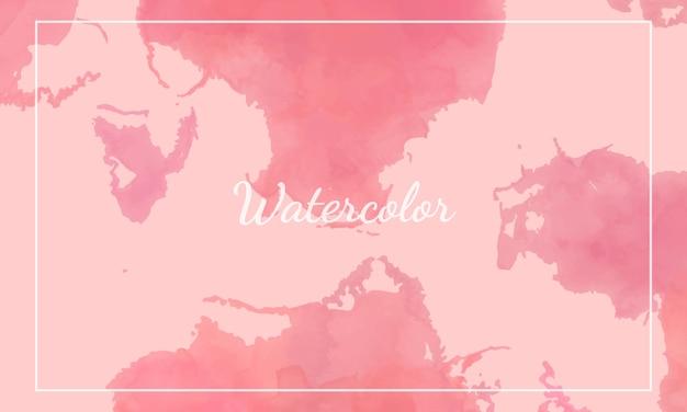 ピンクの水彩背景テンプレート。