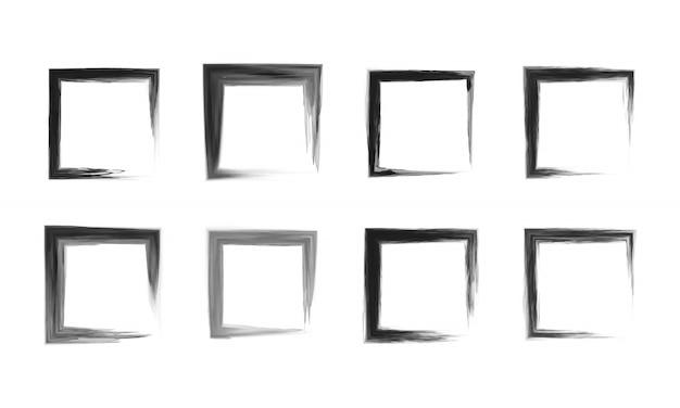 黒い正方形のフレームのセット。
