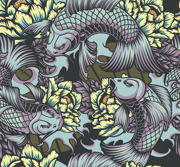 鯉と和風のシームレスなカラーパターン