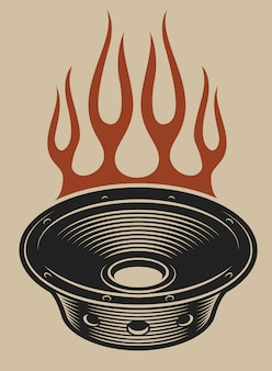 白い背景の上の火でオーディオスピーカーのイラスト。