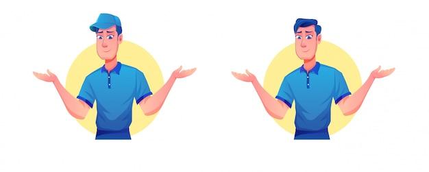配達員の帽子と宅配便による配送サービス(マスコット配送サービスの漫画イラスト)