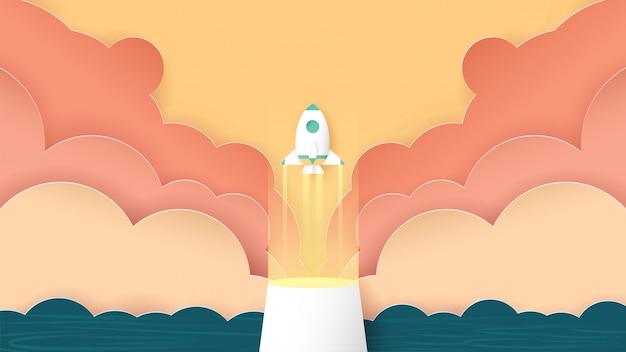 ロケットは雲から飛んでいます。