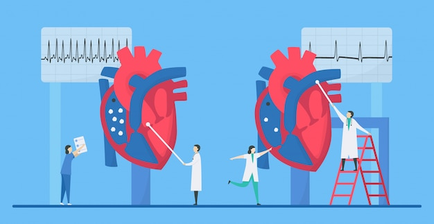 Кардиология иллюстрации. эта проблема с болезнью сердца - тахикардия, аритмия. сравнение необычных и нормальных сигналов слева направо соответственно. крошечный плоский дизайн.