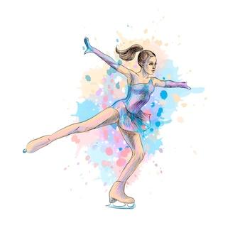 Абстрактный зимний спорт девушка по фигурному катанию от брызг акварели. зимний вид спорта