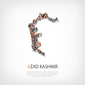 Изометрические набор стилей, люди, карта азад кашмир, страна, концепция веб-инфографики переполненного пространства. группа точек толпы, образующая заданную форму. творческие люди.