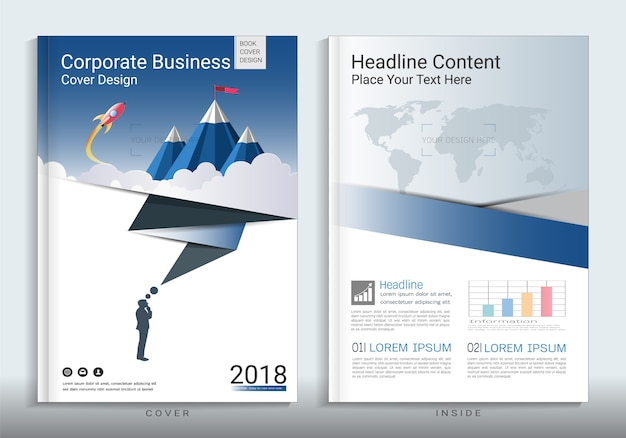 インフォグラフィック要素を用いた法人向けビジネスブックブックデザインテンプレート