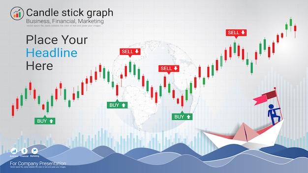 Абстрактные подсвечники и диаграммы финансового графика