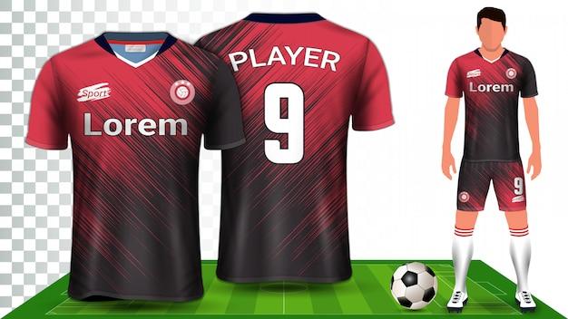 サッカージャージー、スポーツシャツ、またはフットボールキットのユニフォームプレゼンテーションモックアップテンプレート。