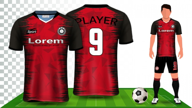 サッカージャージ、スポーツシャツ、またはフットボールキットのユニフォームプレゼンテーション。