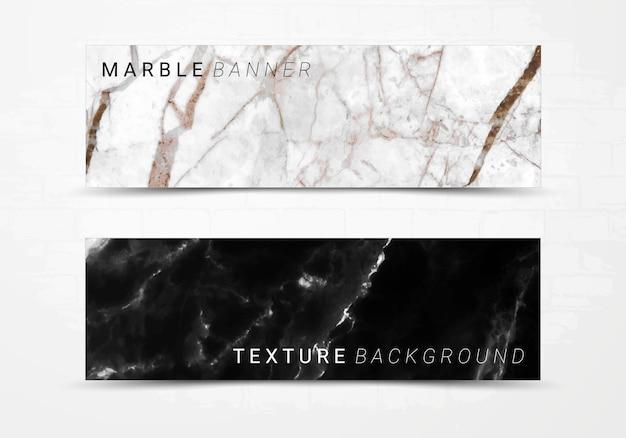 黒と白の大理石のテクスチャ背景のバナーテンプレート。