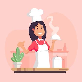 漫画の料理シェフのイラスト、レストランの料理シェフの帽子と料理の制服、