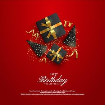 ギフト用の箱と誕生日の帽子とハッピーバースデーの背景。