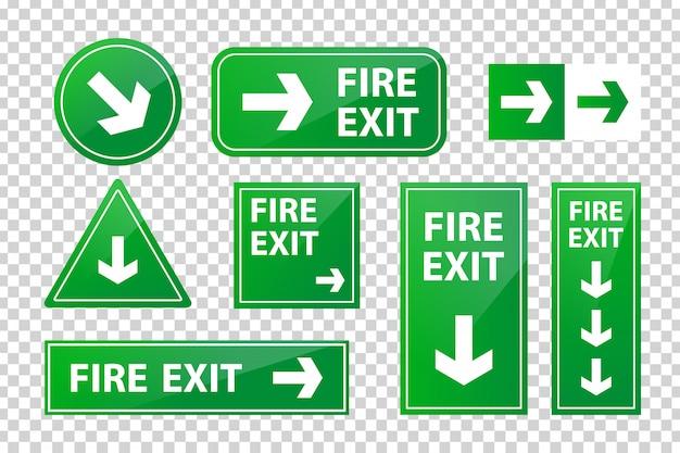 Набор реалистичных изолированных знак пожарного выхода для украшения и покрытия на прозрачном фоне.