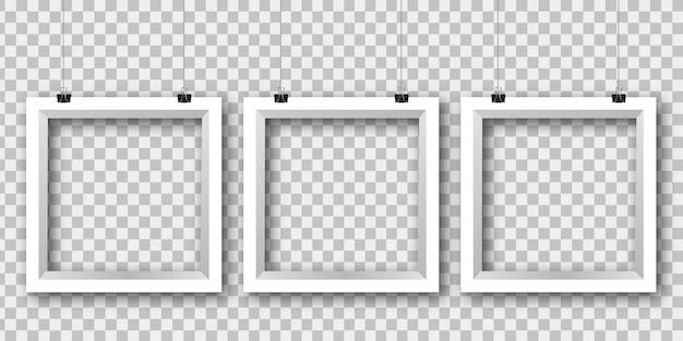 Реалистичные бумажные белые рамки на прозрачном фоне для оформления и фирменного стиля.