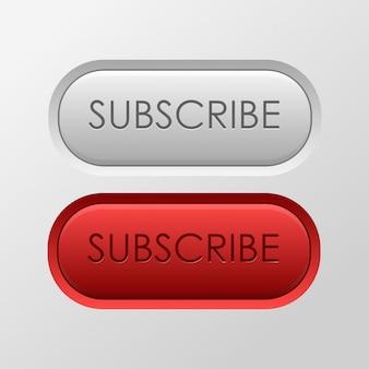 白い背景の上の現実的な購読ボタン。ソーシャルメディアとブログの概念。