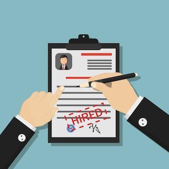 ビジネスレンタルの漫画イラスト。採用の発表、面接、雇用、履歴書、採用のコンセプト。