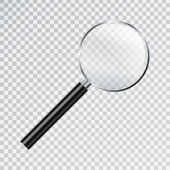 透明な背景に現実的な拡大鏡。研究と科学の概念。