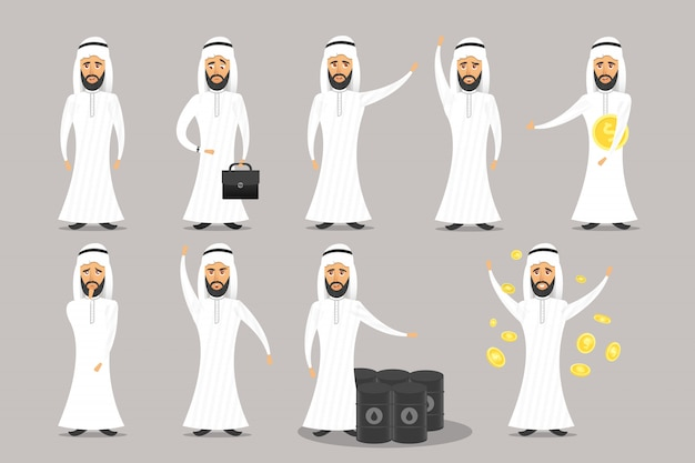 灰色の背景上のアラブのビジネスマンの漫画のキャラクターのコレクションです。