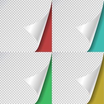 透明な背景に現実的なカラフルな紙のページカールのセットです。