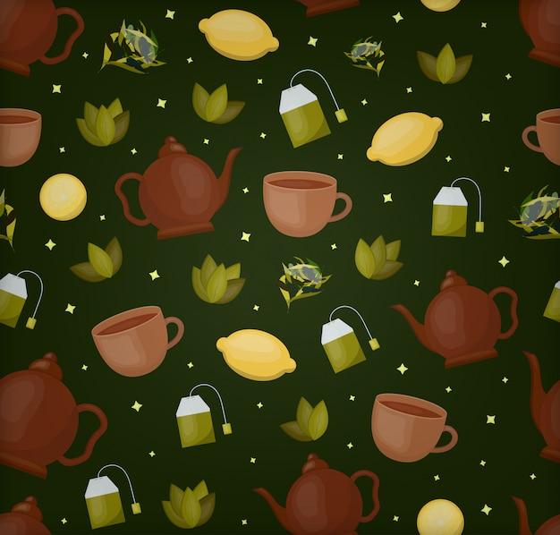 ギフト包装紙、カバー、濃い緑色の背景にブランドのお茶のテーマの漫画のシームレスなパターン。アジアの飲み物とお茶会のコンセプトです。