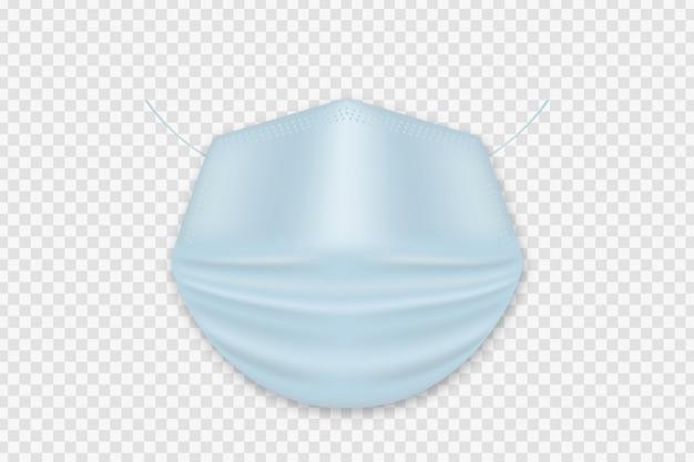 装飾とホワイトスペースをカバーするためのベクトル現実的な分離医療マスク。ウイルス保護の概念。
