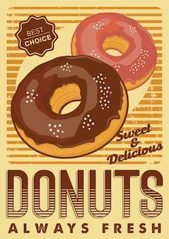 ドーナツドーナツドーナツドーナツサイネージポスター素朴な