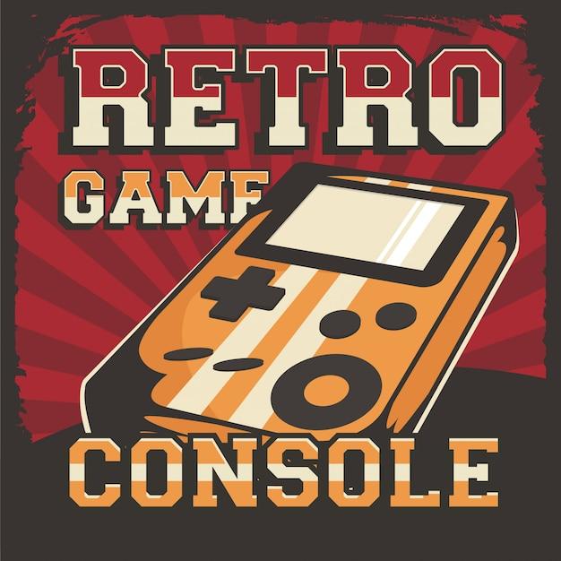 Ретро видеоигра консоль вывеска плакат