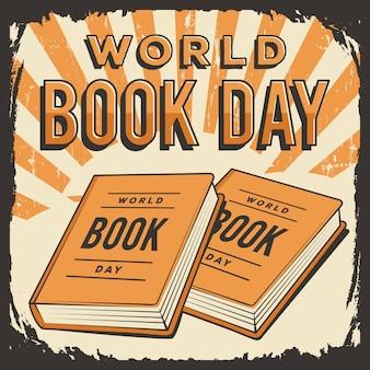 Плакат с надписью «всемирный день книги» в стиле ретро