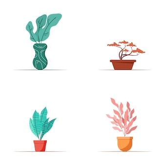 カラフルな植物パックの概念図のグラフィックデザイン。塗りつぶされたスタイルのフラットデザイン。