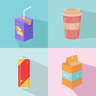 ジャガイモのスティック、フロントビューとフラットなデザインの別の飲み物のイラストのグラフィックデザイン。