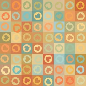 カラフルなハートとレトロなシームレスパターン。