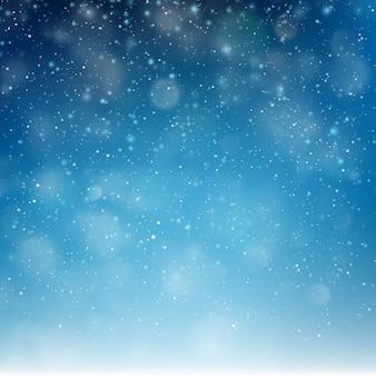 ブルークリスマス立ち下がり雪テンプレート。雪片の背景を飛んでいます。冬の抽象的な概念。そしてまた含まれています