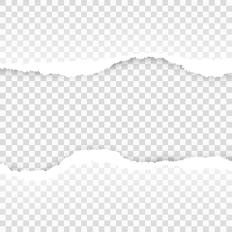破れた紙の透明なテンプレート。