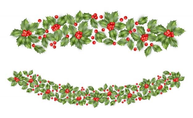 ベリーの背景を持つクリスマスヒイラギの枝の境界線。幸せな年賀状。