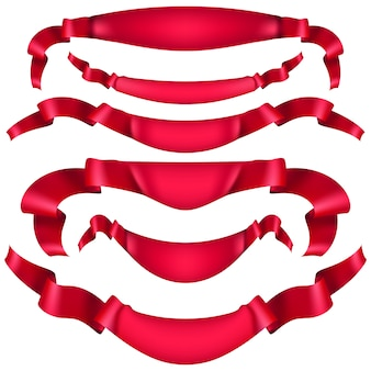 Реалистичные красная декоративная лента, баннеры, полоса на белом. а также включает в себя