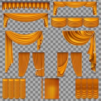 金色のベルベットのシルクのカーテンの豪華セット。