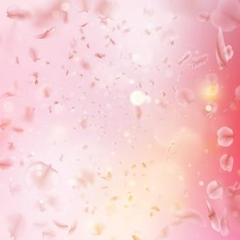 風に風下の花びらを飛んでいる桜。