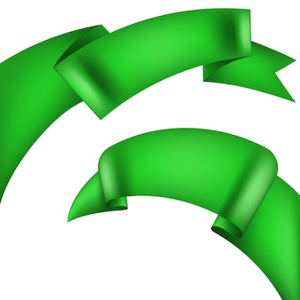 水平方向の緑のバナーのセットです。