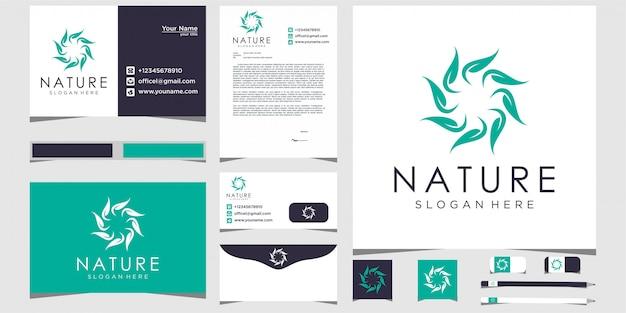 Дизайн логотипа природы оставляет круг с канцелярскими товарами