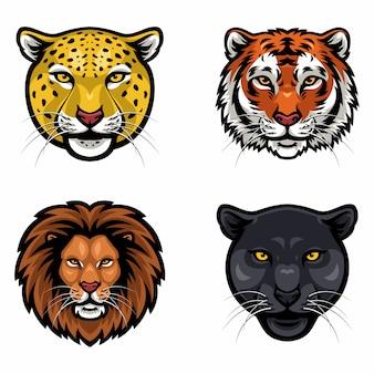 野生動物のコレクションの顔ベクトル