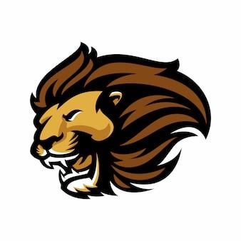 白で隔離されるエスポートとスポーツのマスコットのロゴのためのライオン