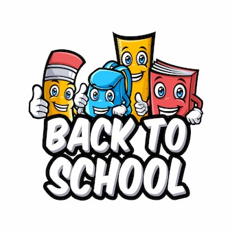 面白い教育漫画のマスコットと学校のベクトル文字に戻る
