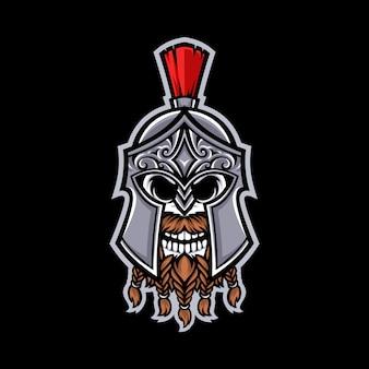 Спартанский череп талисман логотип изолированы
