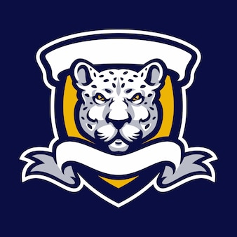 Леопард талисман логотип спорт.